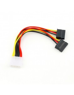 4 Pin IDE Molex Male to 2x 15 Pin Serial ATA SATA Hard Drive Adapter Power Cable Splitter