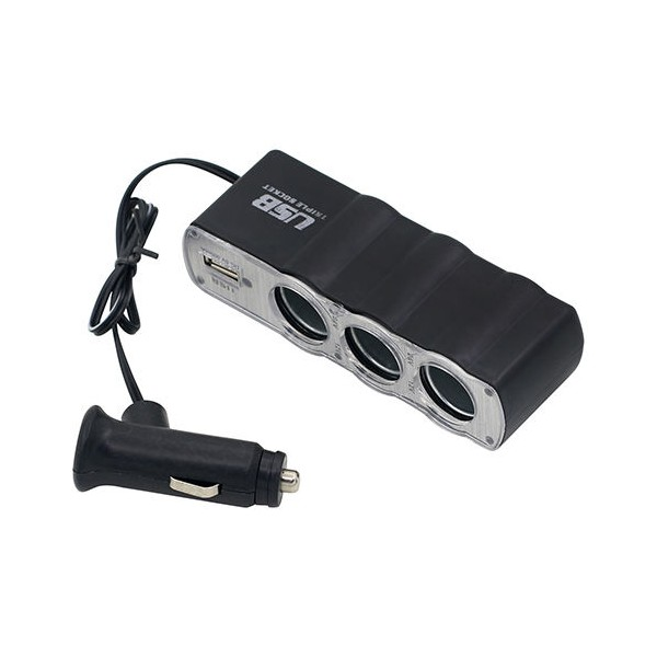 voiture allume cigare splitter 3 way dc adaptateur usb. Black Bedroom Furniture Sets. Home Design Ideas