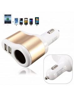 Carregador Isqueiro Dupla USB + 1Porta Isqueiro p/ Carro