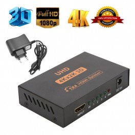 Diviseur Splitter Amplificateur HDMI 1x4 ports c/ HDCP + 3D
