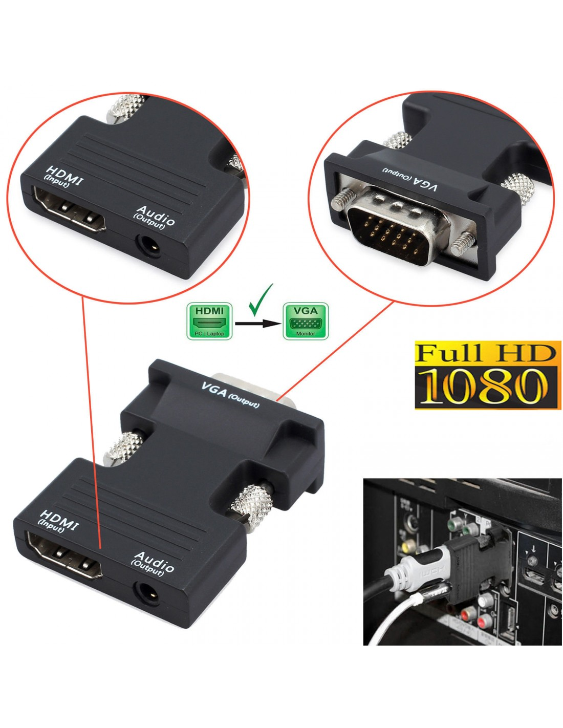 1080P HDMI to VGA Adapter Digital To Analog Audio Video