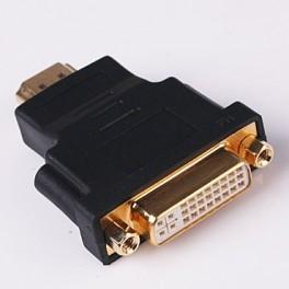 Adaptador DVI-I Femea p/ HDMI Macho (dourado)